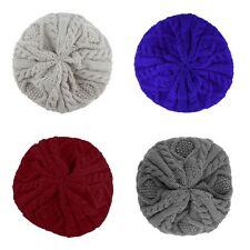 Women Warm Winter Beret Braided Baggy Beanie Knitted Crochet Hat SKI Cap FG