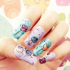 1 Sheet Nail Art Vinyls Ice Cream Cup Cake Flower Funky Stencil Sticker Stencil