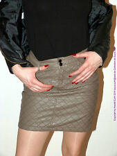 RX07 ROCK ECO KUNSTLEDER MINIROCK GRAU Gr. M STEPPMUSTER FAUX LEATHER SKIRT