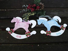BABY'S FIRST CHRISTMAS Rocking Horse Xmas tree decoration/bauble - Personalised