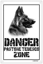 Danger PASTORE TEDESCO zone Targa cartello metallo attenti al cane metal sign