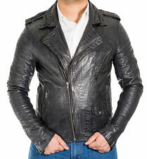 Mens Croc Pattered leather Vintage Motorbike Fitted Black Brando Biker Jacket