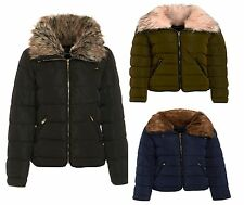 New Womens Shawl Collor Ladies Quilted Puffa Jacket Bubble Bomber Coat Size 8-14