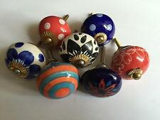 Vintage Ceramic Drawer Knobs Cupboard Cabinet Knobs Pull Handles Door - set of 6
