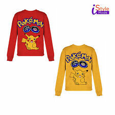 NEW KIDS POKEMON WINTER JUMPER CHRISTMAS PARTY FULL SLEEVE YELLOW RED SWEATER