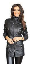 Ladies 3/4 Fitted Leather Coat Carol Black WOMENS Trendy Latest Leather Jacket