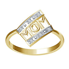 White Real & Natural Diamond Mom Ring 14K Gold Over 925 Silver @Wholesale Price