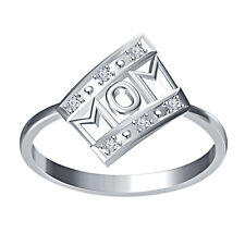 Women's 0.03 TCW Real Diamond MOM Ring in White Platinum Plated 925 Silver