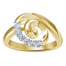 Gorgeous Natural Diamond Wedding / Engagement 18K Gold Over 925 Silver Ring_ID