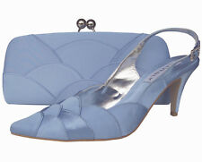 Ladies Wedding Party Heel Shoe Evening Shoes Diamante Pale Blue Satin NEW