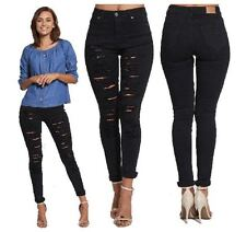 WOMENS LADIES STRETCH SLIM FIT EXTREME RIPPED BLACK HIGH WAISTED SKINNY JEANS