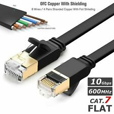 RJ45 Cat7 Network Ethernet Flat SSTP LAN Patch Cable Net Modem ADSL Gigabit Lot