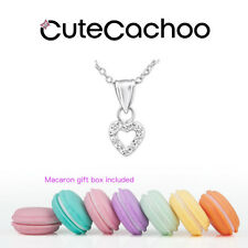 kids 925 silver crystal open heart prom/bridesmaid necklace + macaron gift box!