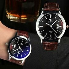 Fashion Men's Date Leather Band Stainless Steel Sport Analog Quartz Wrist Watch