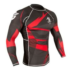 Hayabusa Metaru MMA Rash Guard - Long Sleeve - Black-Red