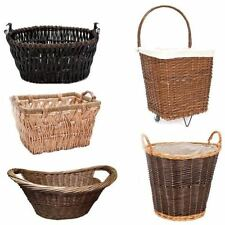 Wicker Toy Storage Box Holder Fireplace Log Basket Laundry Large Small Log Cart