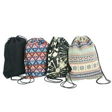 UK Cotton Canvas Knapsack School Gym Travel Backpack Drawstring Hippie Style Bag