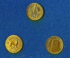3 x Mini-Gold Coins : 2 x Krugerrands & 1 x Standing Liberty, Cute Collectables.