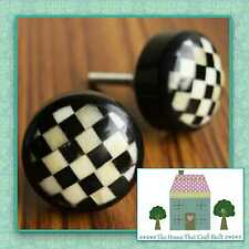 VINTAGE SHABBY CHIC CHEQUERED RESIN DRAWER KNOBS PULLS CUPBOARD DOOR HANDLES