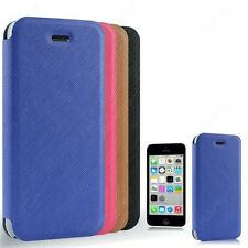 Smooth Premium Luxury PU Leather Flip Stand Hard Back Case Cover Apple iPhone 5C