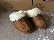 GIRLS-KIDS- FAUX SUEDE AND LUXURY FUR -SLIPPERS- CHESTNUT  - SIZES 10- 2