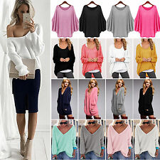 Sexy Women Oversized Loose Sweater Casual Long Sleeve Baggy Jumper Tops Knitwear