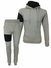 SALE £29.50 / King Kouture Body Panel Slim Fit Full Hooded Tracksuit Grey Large