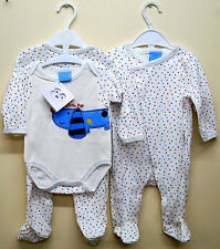 Sleepsuit /& Body Vest Bib Genuine BEBE BONITO® MY LITTLE CAR 3-Piece Baby Set