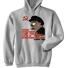 VLADIMIR LENIN SOVIET UNION 4 - NEW COTTON GREY HOODIE - ALL SIZES IN STOCK
