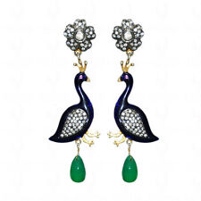 Emerald & Tourmaline Studded Earrings With Enamel In 925 Sterling Silver-SE1158