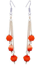 red onyx gemstone faceted beads earring made in .925 sterling silver-ES1489