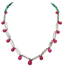 Emerald  & Ruby Gemstone With Elements Necklace-NP1220