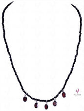 Black Spinel Gemstone Faceted Bead String With Oval Shape Garnet-NS1356