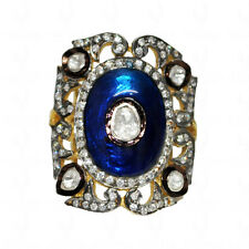 White Sapphire Gemstone Studded Victorian Style Ring With Enamel Work-SR1023