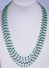 5 row emerald cabochon bead chain in 925 sterling silver-CP1041