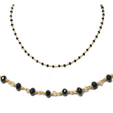black onyx stone faceted bead chain .925 sterling silver-CS1081