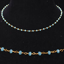 blue chalcedony stone faceted bead chain .925 sterling silver-CS1078