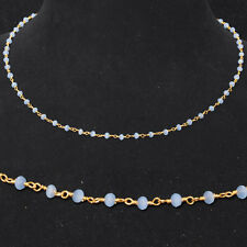 chalcedony stone faceted bead chain .925 sterling silver-CS1084