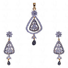 zircon pendant & earring set in silver & brass-FP1060