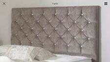 "Chenille Fabric Bedworth 24"" Height Diamante Headboard 2ft6,3ft,4ft,4ft6,5ft,6ft"