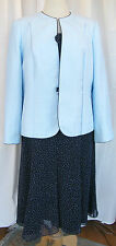 JACQUES VERT MONIQUE RANGE NAVY CHIFFON DRESS BLUE SPOT POWDER  BLUE JACKET T1C