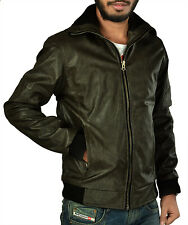 Branded Surplus Stylish Slim Fit Zara Biker Green Faux Leather Jacket For Men