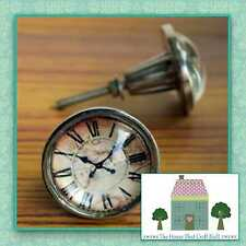 SHABBY CHIC DOME VINTAGE CLOCK METAL DRAWER KNOBS PULLS CUPBOARD DOOR HANDLES