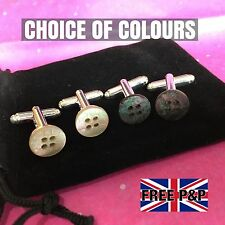 NEW MENS MOTHER OF PEARL BUTTON SILVER PLATED CUFFLINKS + BLACK VELVET BAG GIFT