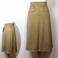 M&S Limited Edition FAUX SUEDE Long A-LINE SKIRT ~ Size 10 or 12 ~ CARAMEL