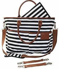 Diaper Bag For Stylish Moms , Black/White, Premium Cotton Canvas Tote Bag, By..