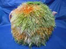 Funky extra fluffy tea cosy hand knitted in Wales green orange yellow