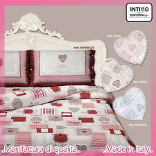 COMPLETO LENZUOLA TIROLESE CUORI ROYAL LETTO 100% COTONE MADE IN ITALY