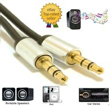 Aluminium PRO 3.5mm Jack to Jack Stereo Audio Cable Lead For Mobile Phone Car UK