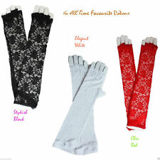 Long Fingerless / Half Finger Gloves with Chiffon Bow Women Wedding Lace Gloves